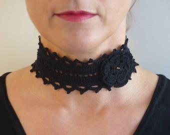 Black Gothic Choker thin Cotton yarn