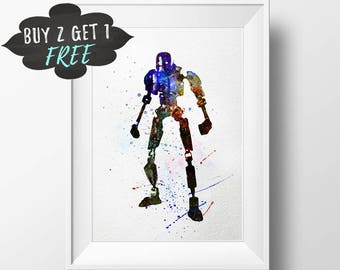 Rogue One Poster Rogue One Art Print, K-2So Star Wars Wall Art, Kay-Tuesso Star Wars Nursery Decor Printable Star Wars Birthday Party Shower