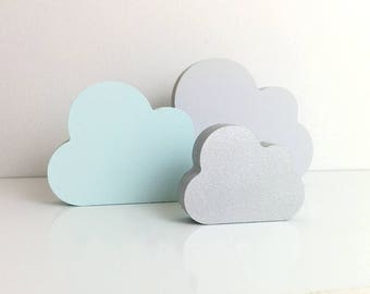 Baby Blue Nursery Decor . Wooden Cloud Ornament . Wooden Nursery Decor . Blue & Grey Nursery . Cloud Nursery Decor . Pale Blue Home Decor .