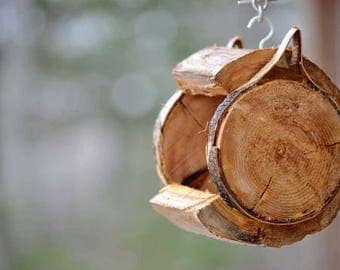 Small Rustic & Natural Bird Feeders! Log Feeders are More Enticing!