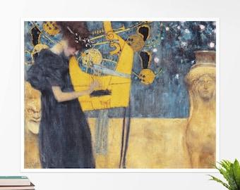 """Gustav Klimt, """"Music"""". Art poster, art print, rolled canvas, art canvas, wall art, wall decor"""