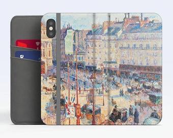 """Camille Pissarro, """"Place du Havre, Paris"""". iPhone X Wallet case iPhone 8 Wallet case  iPhone 7 Plus Wallet case. Samsung Wallet cases."""
