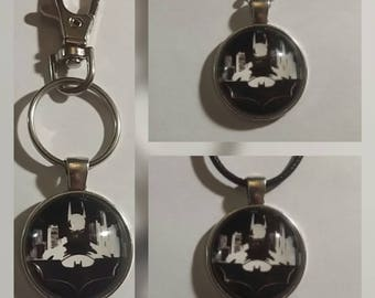 Batman glass pendant on your choice of necklace or key chain