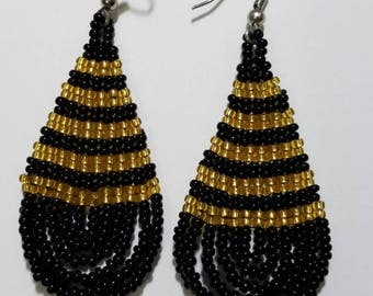 Black and Gold Beaded Tear drop Earrings
