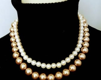 MONET Two Strand Pearls Necklace/Gold and Off White Pearls Necklace/Double Strand Pearl Neclace/Faux Pear Necklace/No.281