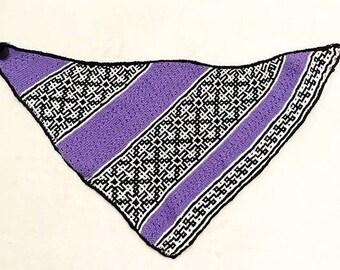 Hand-knit geometric triangle scarf