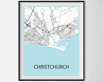 Christchurch Map Poster Print - Black and White