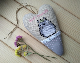 My neighbor Totoro Textile heart Totoro decorations Handmade cross stitch Embroidery Totoro gift for girls Stuffed animal Tilda heart Anime
