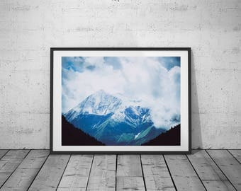 Nature Photo, Mountains Print, Fog Photography, Digital Print, Black-White-Blue Photo, Wall Art, Printable Poster, Digital Download, 5 JPG's