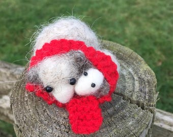 Needle felted Cotswolds sheep mum and lamb baby