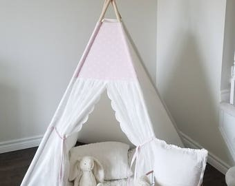 Pink & White Lace Teepee WITH POLES, Tipi, Play Tent, Nursery, Triangle Print