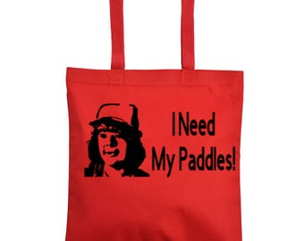 Stranger Things Dustin I Need My Paddles Horror Canvas Tote Bag Market Pouch Grocery Reusable Merch Massacre Black Friday Christmas