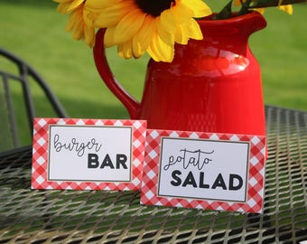 Baby-Q Baby Shower Food Tent Labels - BBQ Baby Shower Food Tents or Place Cards