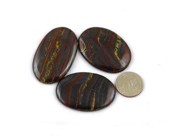 3 Pcs Genuine Iron Tiger Eye cabochon Gemstone~57x35mm~375Cts Handmade Tiger Eye Gemstone*GS1090