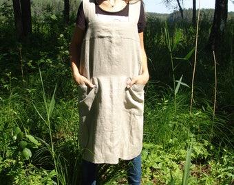 Linen women apron/ Linen pinafore apron/ Japan apron/ Stone washed linen apron/ Linen apron