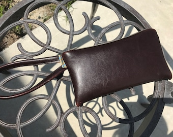 Reclaimed leather wristlet
