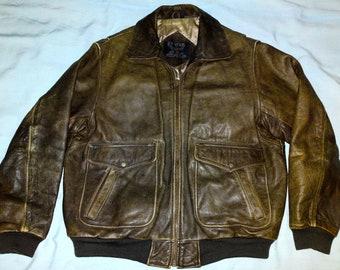ET VOUS Air Wear Vtg A-2 Flight Pilot Brown Leather Bomber Jacket size L