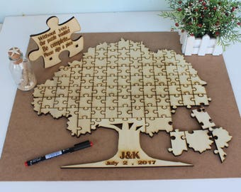 Wedding Guest book puzzle , Tree Rustic Puzzle , Rustic Puzzle , Custom Puzzle Wedding guest book alternative puzzle Wooden puzzle