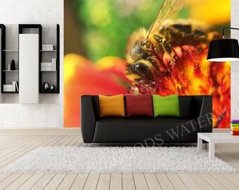 Bee On A Flower Wallpaper
