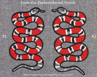 Snake Patch Coral Snake Iron On Patch 11'' x 6'' Mirror Symmetry Snake Patch Large Snake Patch Top Quality Embroidery Patch Custom  #A9 YSS