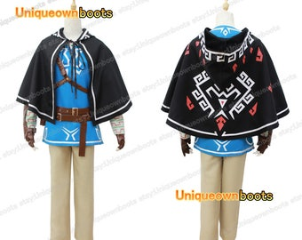 Men's Legend of Zelda Breath Wild Link Cosplay whole costume with cape