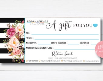 Rodan and Fields Gift Certificate, Free Personalized, Rodan + Fields Gift Card, R + F Certificate, For Independent Consultants
