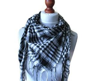Cotton Head Scarf Head Wrap Arabic Head Scarf Black and White Cotton Scarf