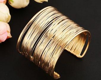 Gold Wire Opening Cuff Bracelets - Bangle Statement adjustable large minimalist