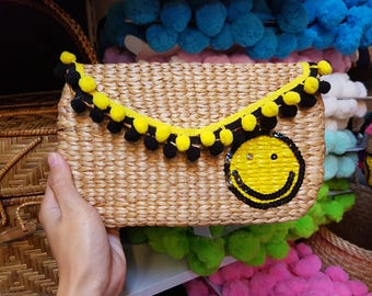 Pom Pom Clucth, Bohemian Clutch, Smiley Clutch, Handmade Clutch, Summer accessory