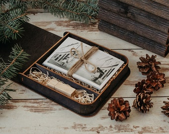 Wooden photo box for 4x6 prints | Black engraved box for photos and usb packaging