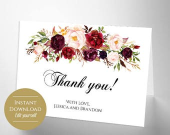 Thank You Card Folded Thank You Card Wedding Thank You Note Digital Files Editable Greeting Card Card Floral Two Sided Card Boho Chic DIY