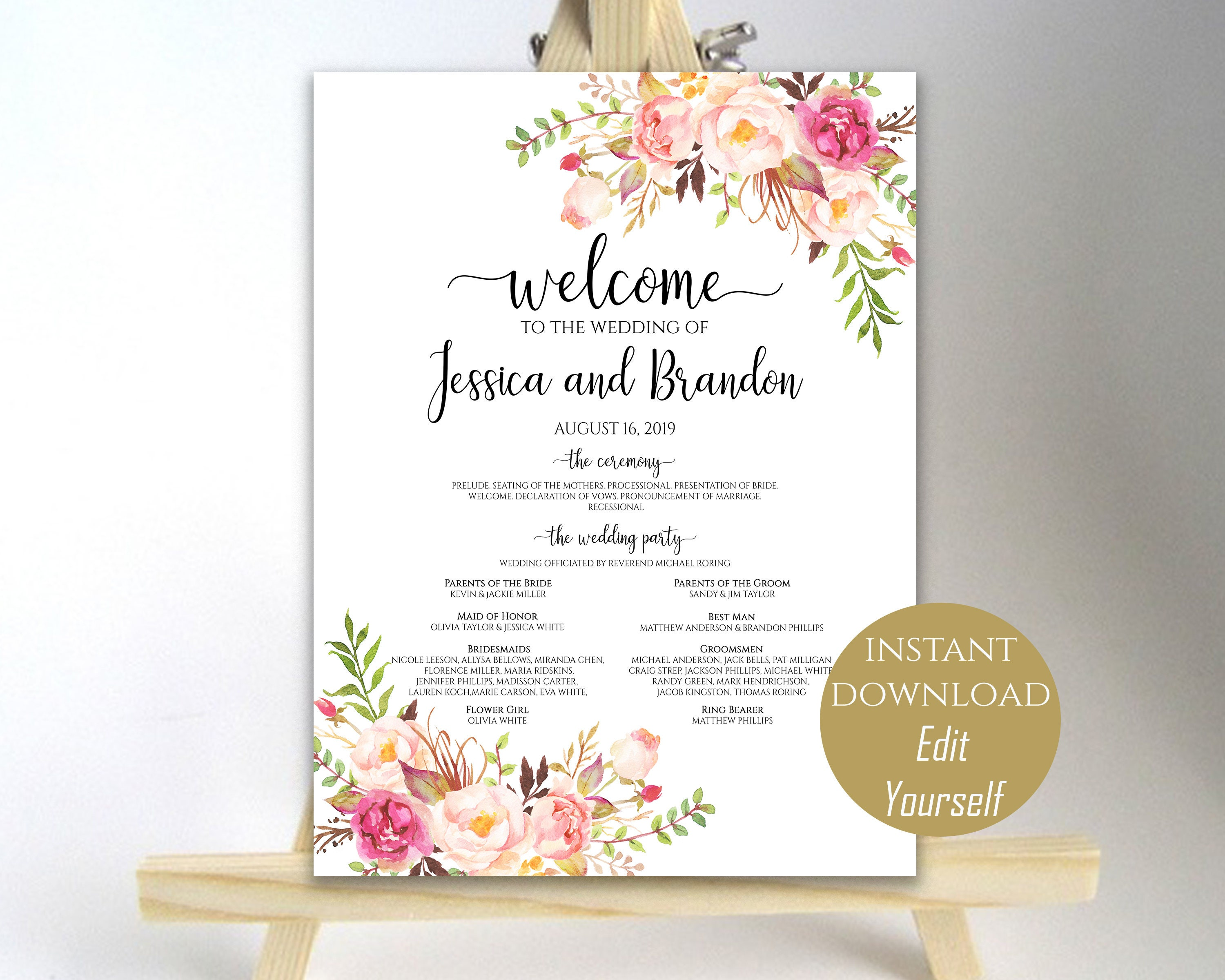 Printable Wedding Program Sign Welcome Template Poster Instant Download PDF 16x20