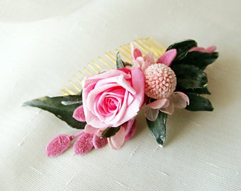 Peigne Audrey Vraies Fleurs Stabilisées