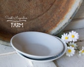 Antique Meakin Ironstone Round Berry Bowls - X large butter Pat - Farmhouse Style Decor