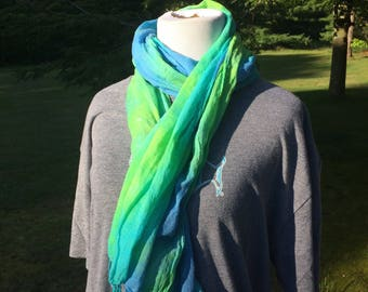 Hand dyed cotton scarf