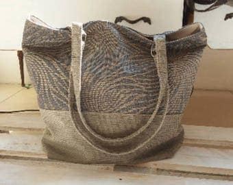 Grey fabric bag with handles