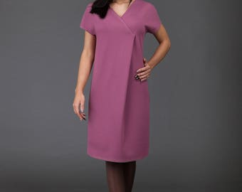 Dusty rose Dress/ Minimalistic/ Midi Dress with sleeves/ high-quality/ handmade/ Sphinx Design.lt