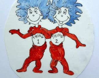Dr Seuss Thing 1 & Thing 2 Cake Topper