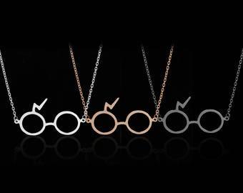 Harry Potter Glasses Necklace,Harry Potter Lightening Scar Glasses Necklace Pendant,Glasses Necklace,Harry Potter Glasses Jewelry