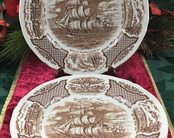 """6 Vintage Alfred Meakin Fair Winds Brown 10 1/4"""" Dinner Plates USS Constitution"""