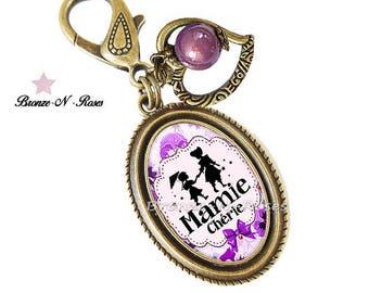 """Bijou de sac """" Mamie chérie """" bijou fantaisie cadeau fête des grands grands-mères violet"""