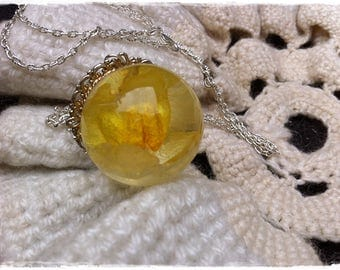 Bright pendant, Flowers in resin, Summer pendant, Silver necklace, Shine pendant, Dry flower, Glass necklace, Crystal pendant, Eco jewelry
