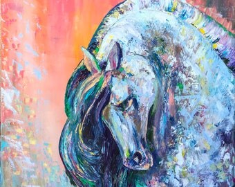 Horse portrait - original palette knife animal horse oil art painting on stretched canvas, by Nino Ponditerra