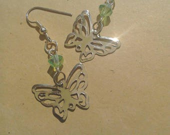 Butterfly and green Czech crystal silver plated earrings