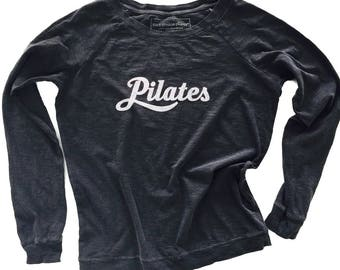 Pilates Long-Sleeved Cotton Top, Pilates Cotton Tee, Pilates Gift, Pilates Clothes, Pilates Top, Vintage Look