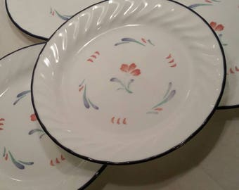 Corelle Supple Brush (Blue/Red Brush Strokes) Set of 4 Bread/Salad Plates