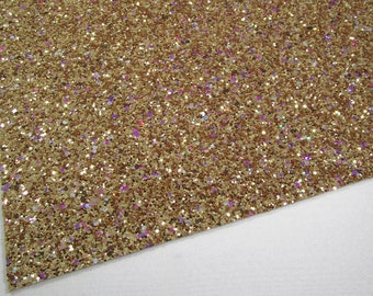 Treasure Chest Extra Chunky Glitter 8X11 Fabric Sheet on White Soft Lycra Material, Iridescent Glitter