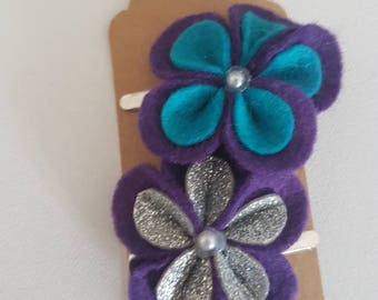 Purple & teal flower Hair Clip - The Penny