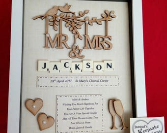 WEDDING MR & MRS personalised keepsake gift box frame wooden