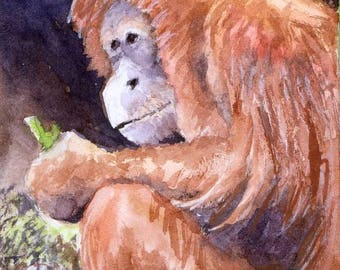 ACEO / ATC Original: 'Monkey Business' - watercolor on 140lb watercolor paper